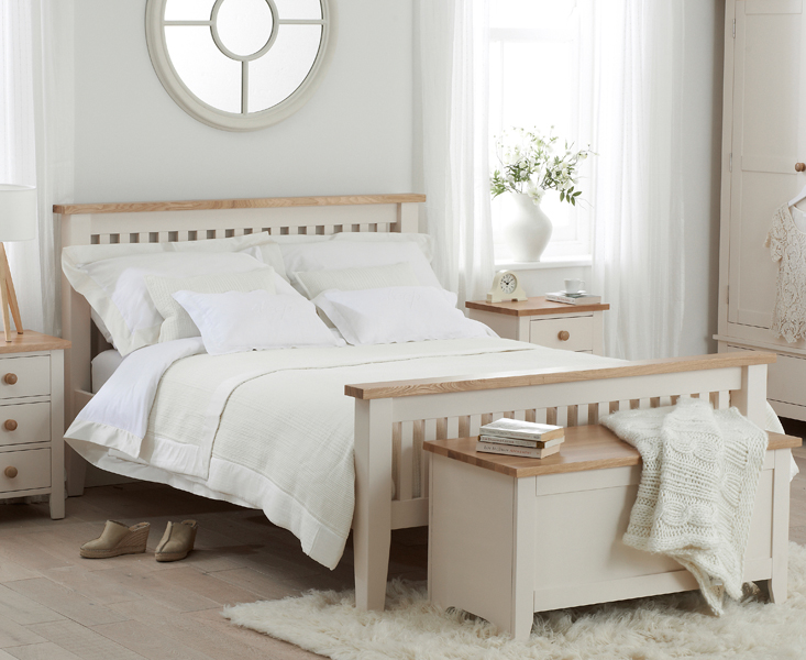 Camden Ash and Cream Double Size Bed Frame
