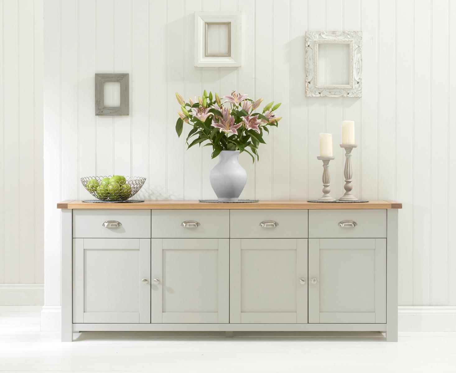 Somerset Oak and Grey 4 Door 4 Drawer Sideboard