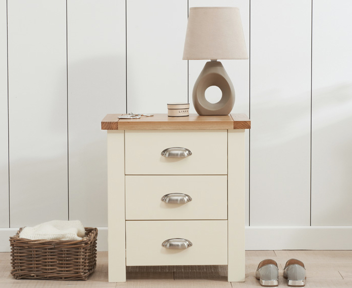 Somerset Oak and Cream 3 Drawer Bedside Table