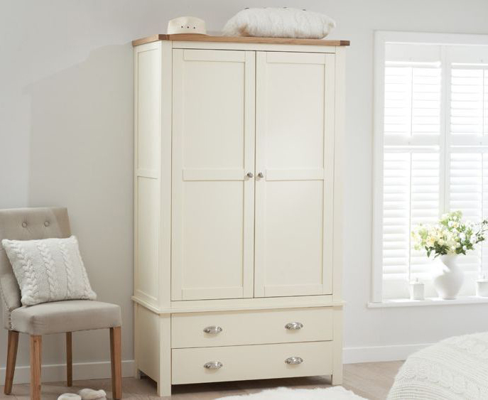 Somerset Oak and Cream Two Door Two Drawer Wardrobe
