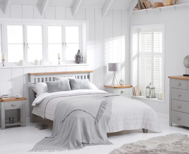 Somerset Oak and Grey Single Bed