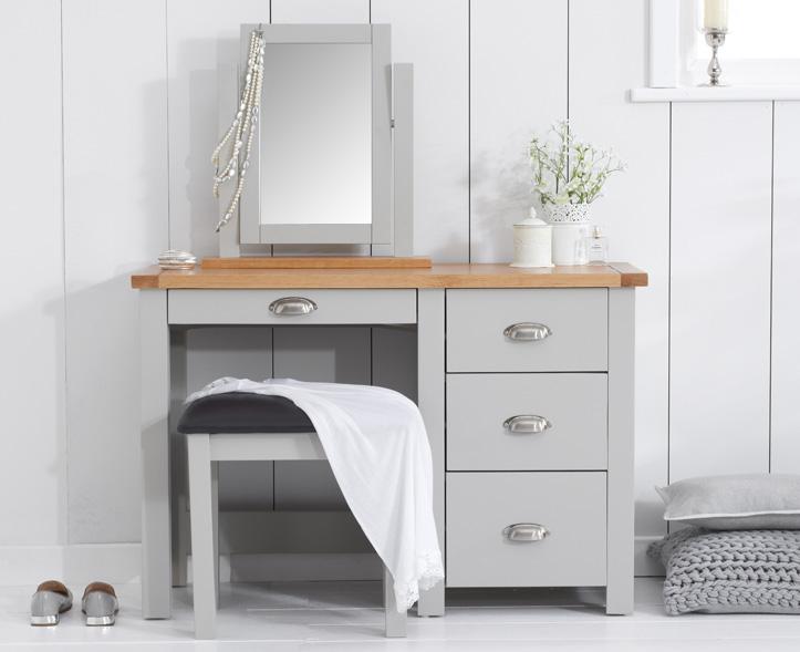 An image of Somerset Oak and Grey Single Pedestal Dressing Table Set