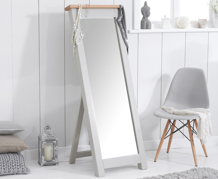 An image of Somerset Oak and Grey Cheval Mirror