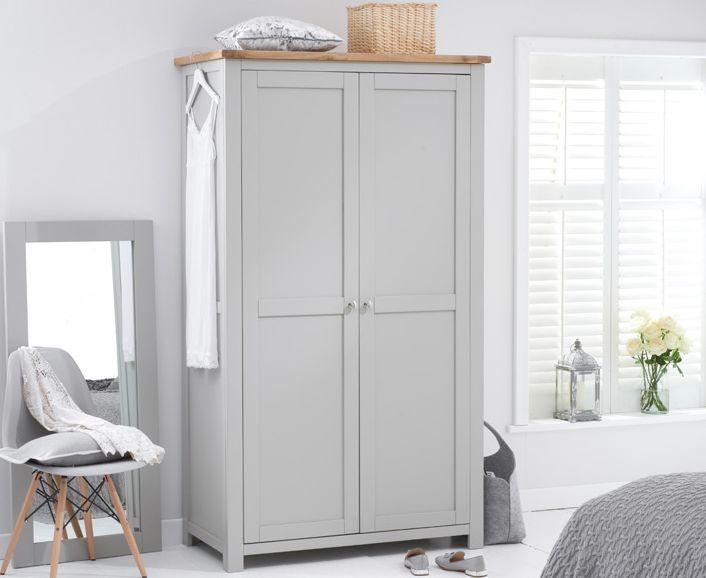 Somerset Oak and Grey Two Door Wardrobe