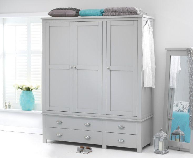 Somerset Grey 3 Door 4 Drawer Wardrobe
