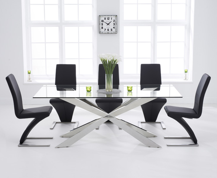 Juniper 200cm Glass Dining Table with Hampstead Z Chairs