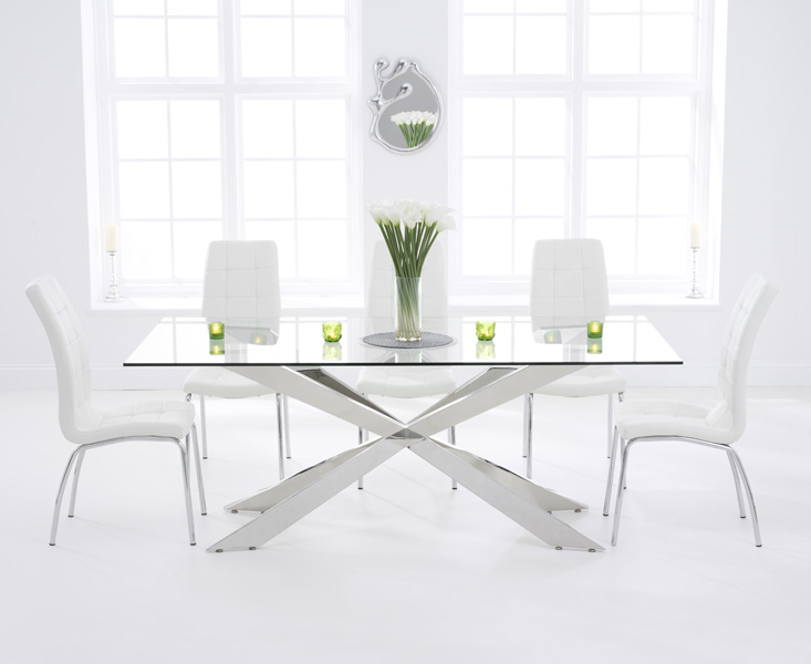 Juniper 200cm Glass Dining Table with Calgary Chairs