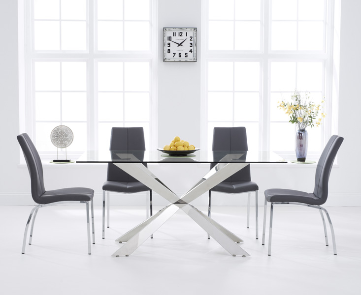 Product photograph showing Juniper 160cm Glass Dining Table With Cavello Chairs