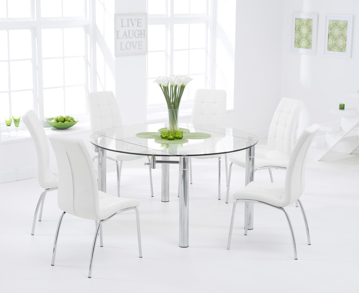 Melbourne 145cm Round Glass Extending Dining Table with Calgary Chairs