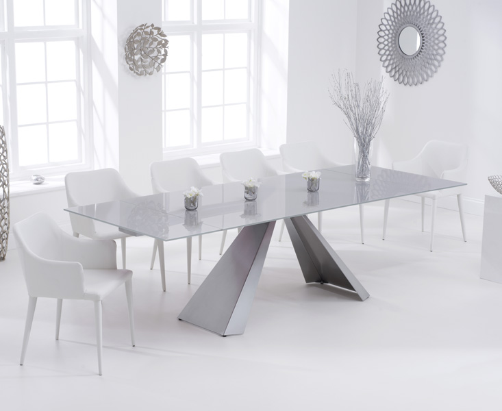 Leon 180cm Light Grey Glass Extending Dining Table with Cuba Chairs