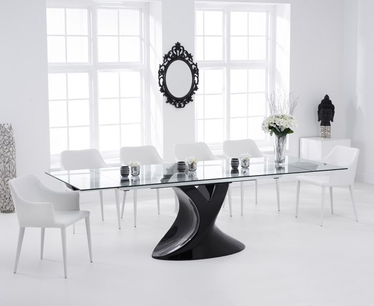 Majorca 180cm Black Extending Glass Dining Table with Cuba Chairs