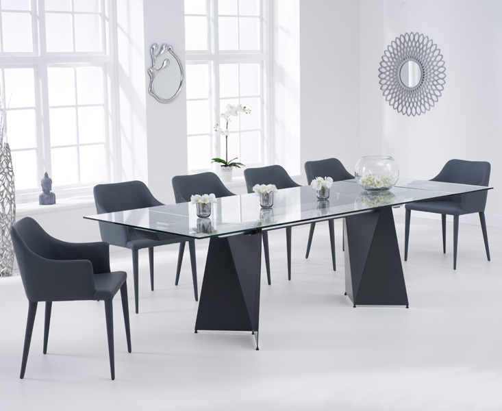 Cuba 180cm Grey Extending Glass Dining Table with Cuba Chairs