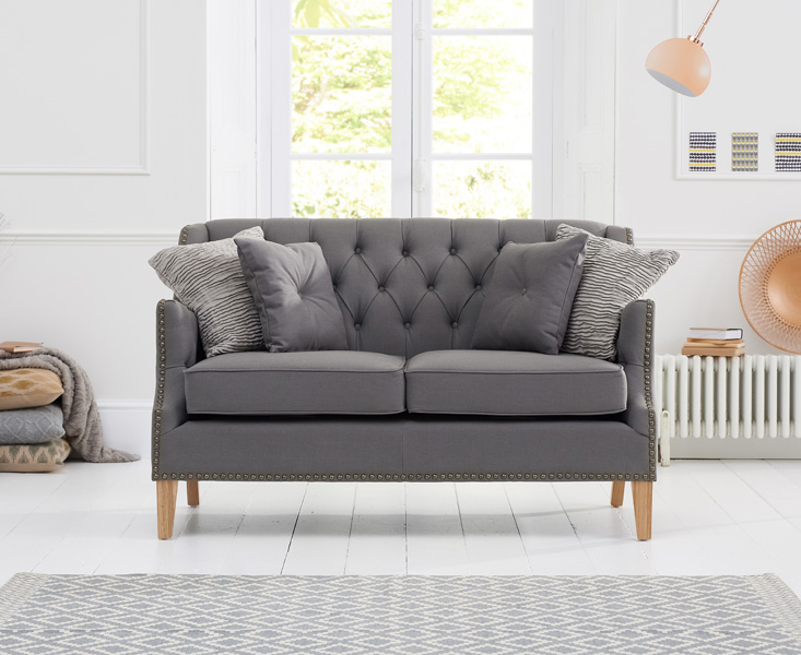 Charlotte Chesterfield Grey Fabric 2 Seater Sofa