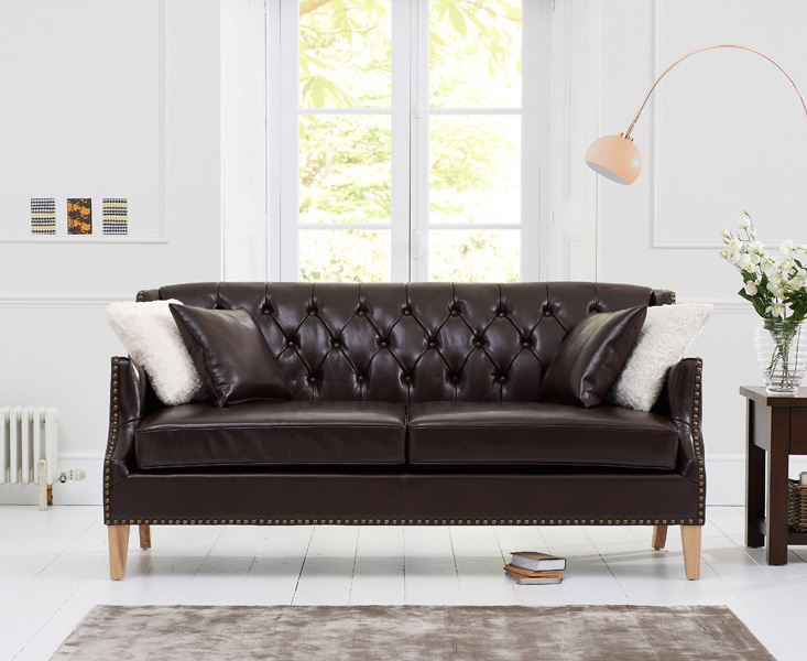 Charlotte Chesterfield Brown Leather 3 Seater Sofa