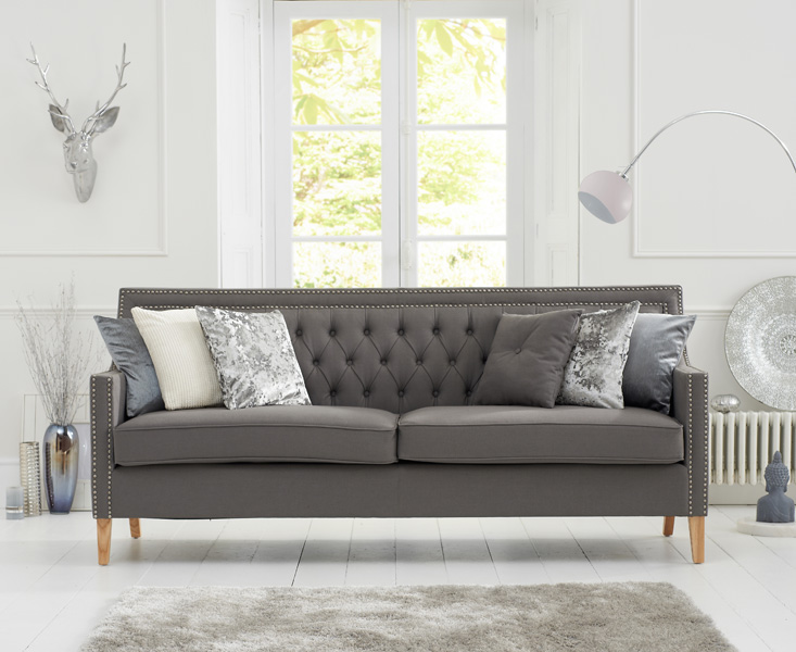 Chatsworth Chesterfield Grey Fabric 3 Seater Sofa