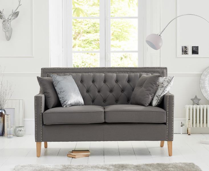 Chatsworth Chesterfield Grey Fabric 2 Seater Sofa