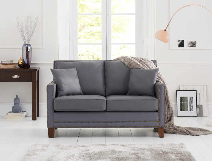 Aston Grey Leather 2 Seater Sofa