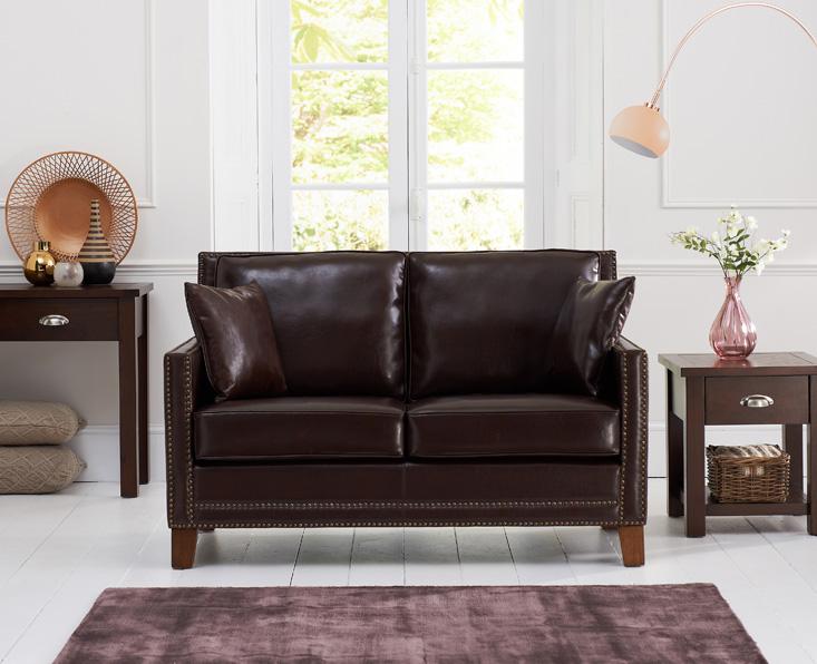 Aston Brown Leather 2 Seater Sofa