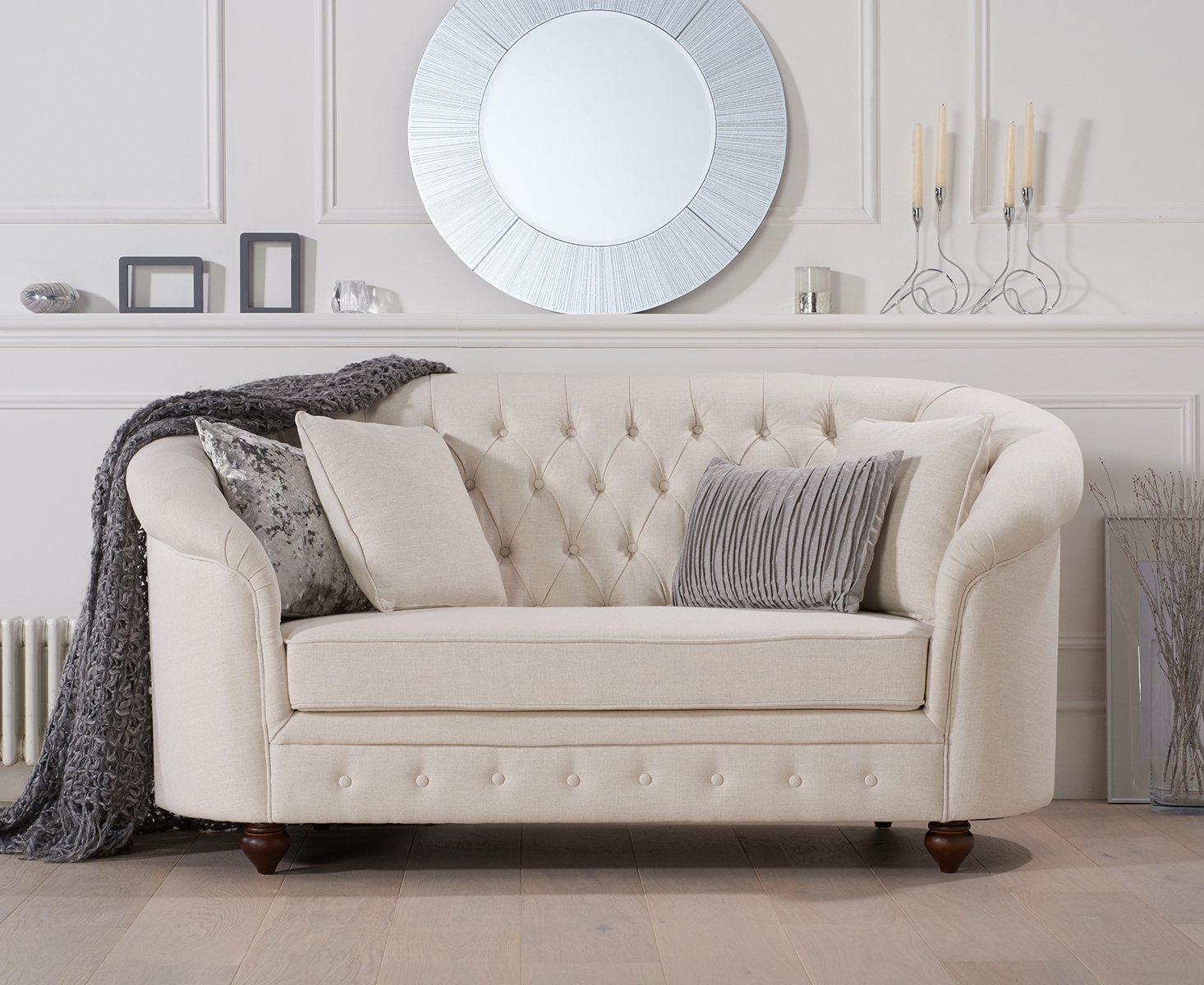 Product photograph showing Cara Chesterfield Ivory Linen Fabric Two-seater Sofa