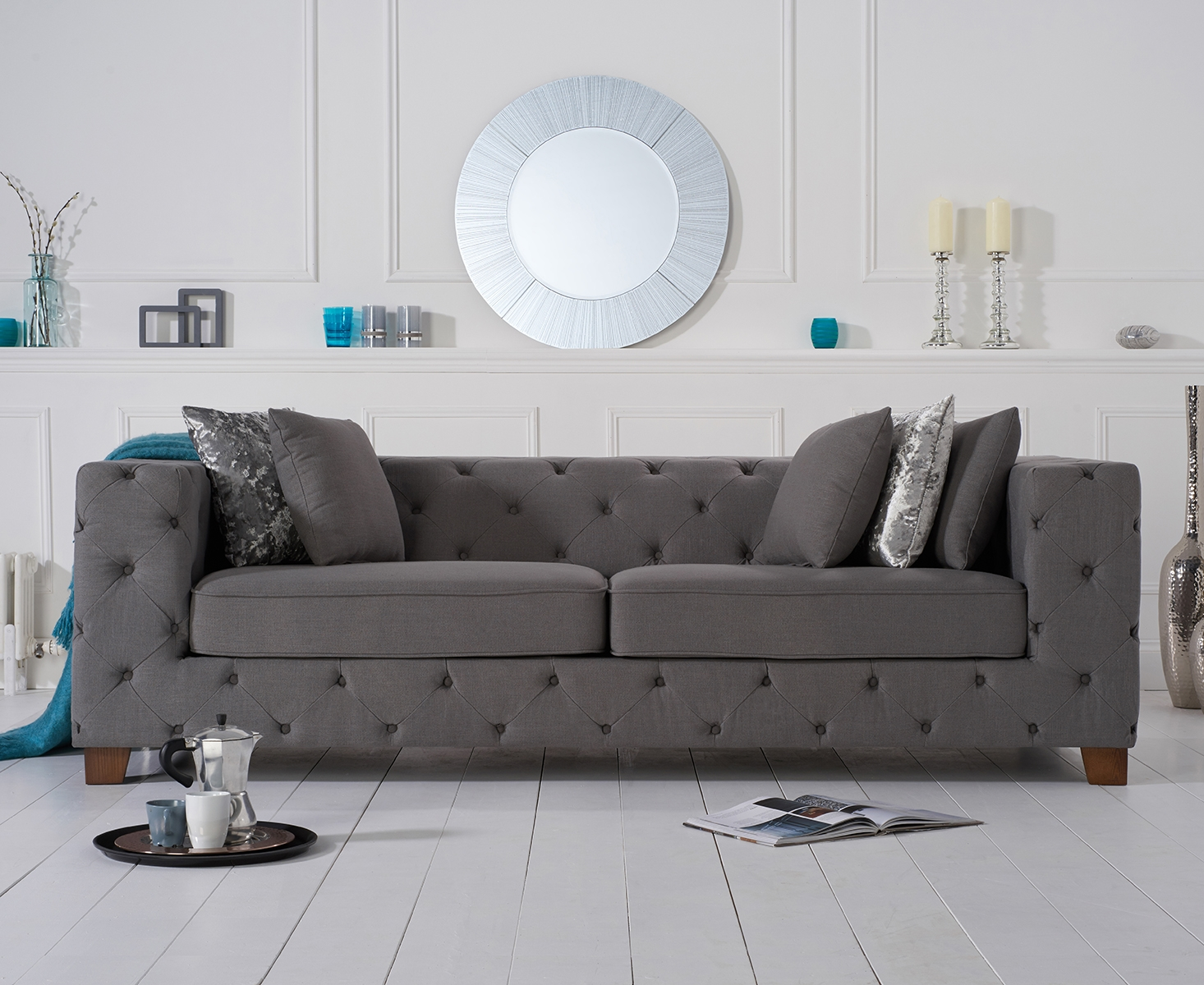 Harrison Chesterfield Grey Fabric Three-Seater Sofa