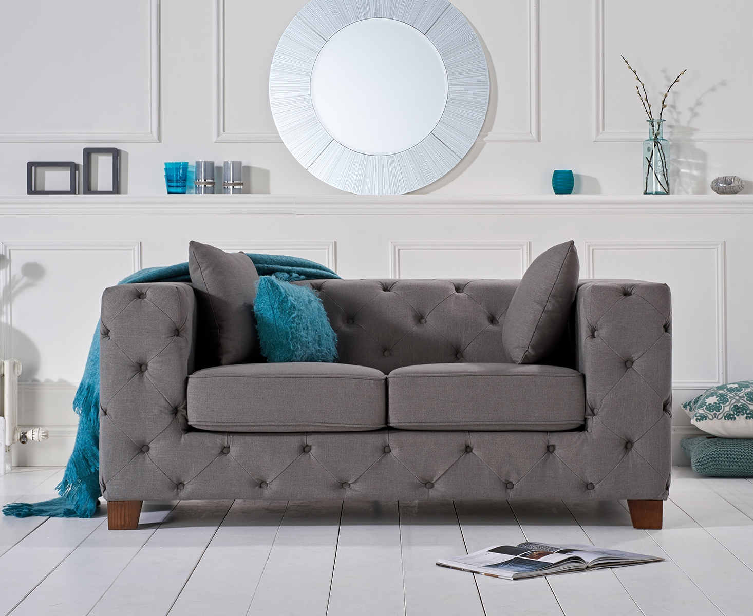 Photo of Harrison grey chesterfield fabric two-seater sofa