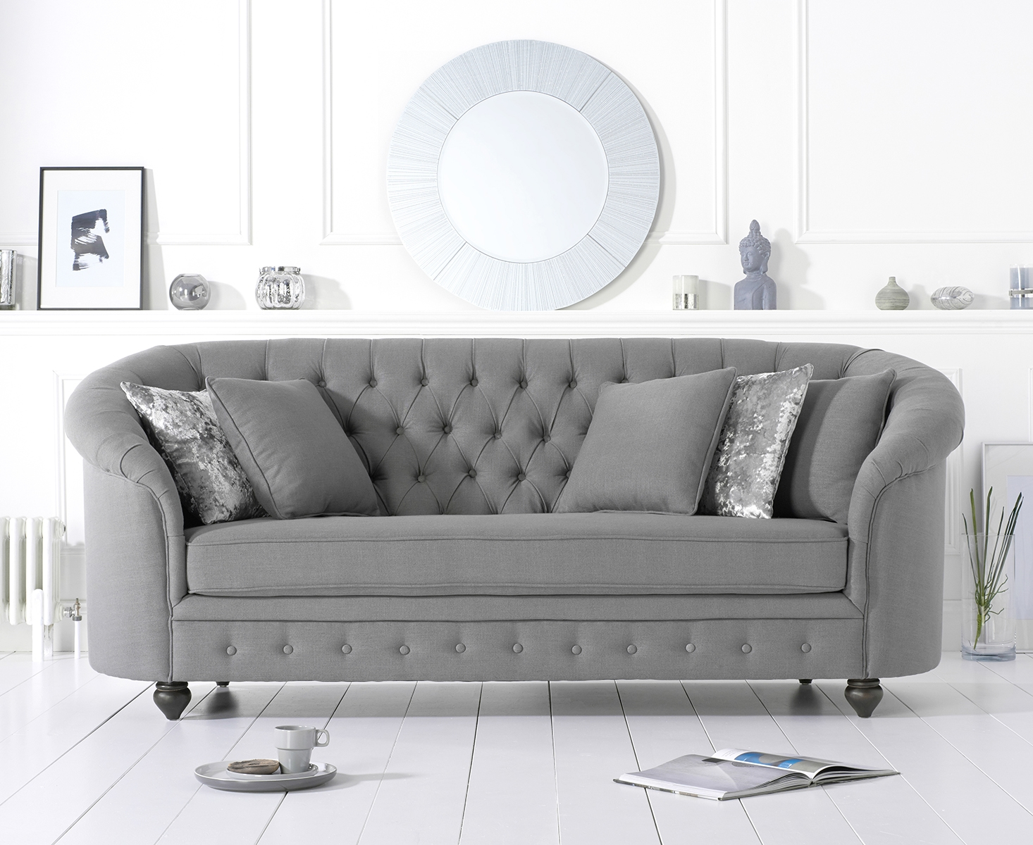 Cara Chesterfield Grey Fabric Three-Seater Sofa