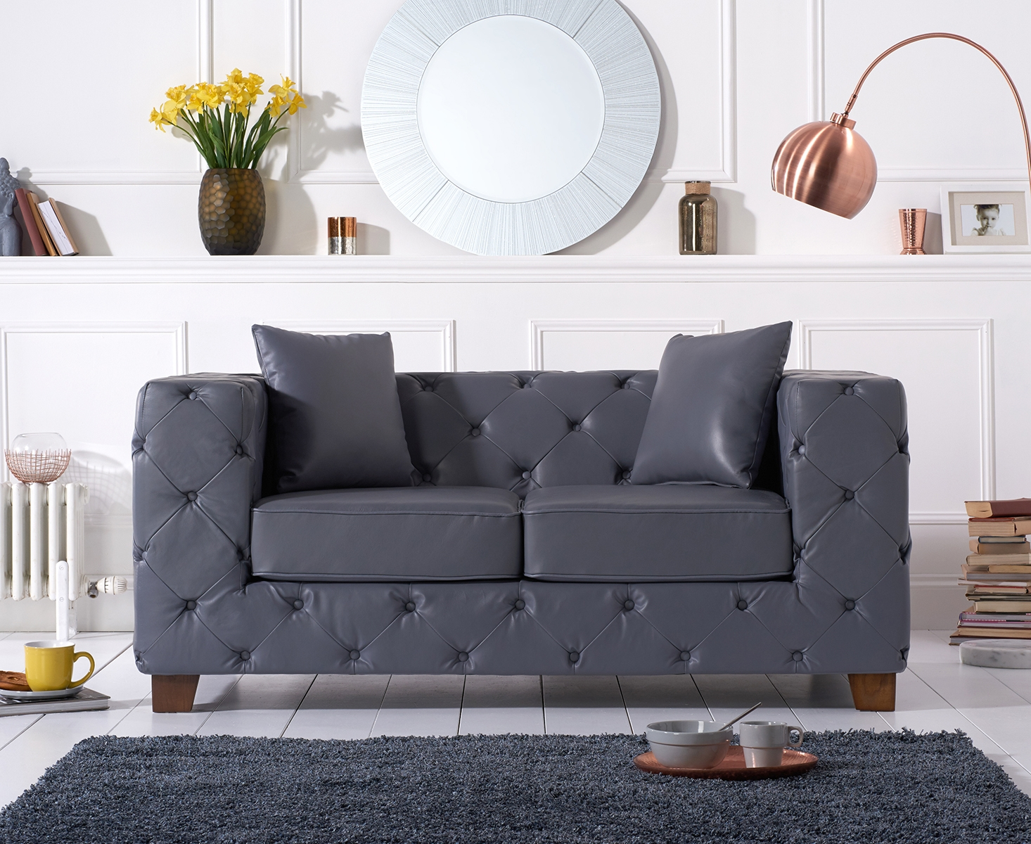 Harrison Chesterfield Grey Leather Two-Seater Sofa