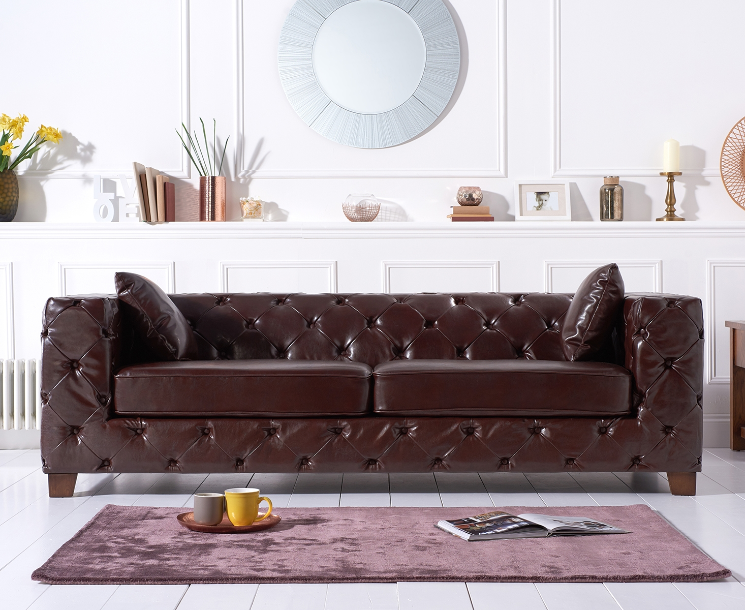 Photo of Harrison chesterfield brown leather three-seater sofa