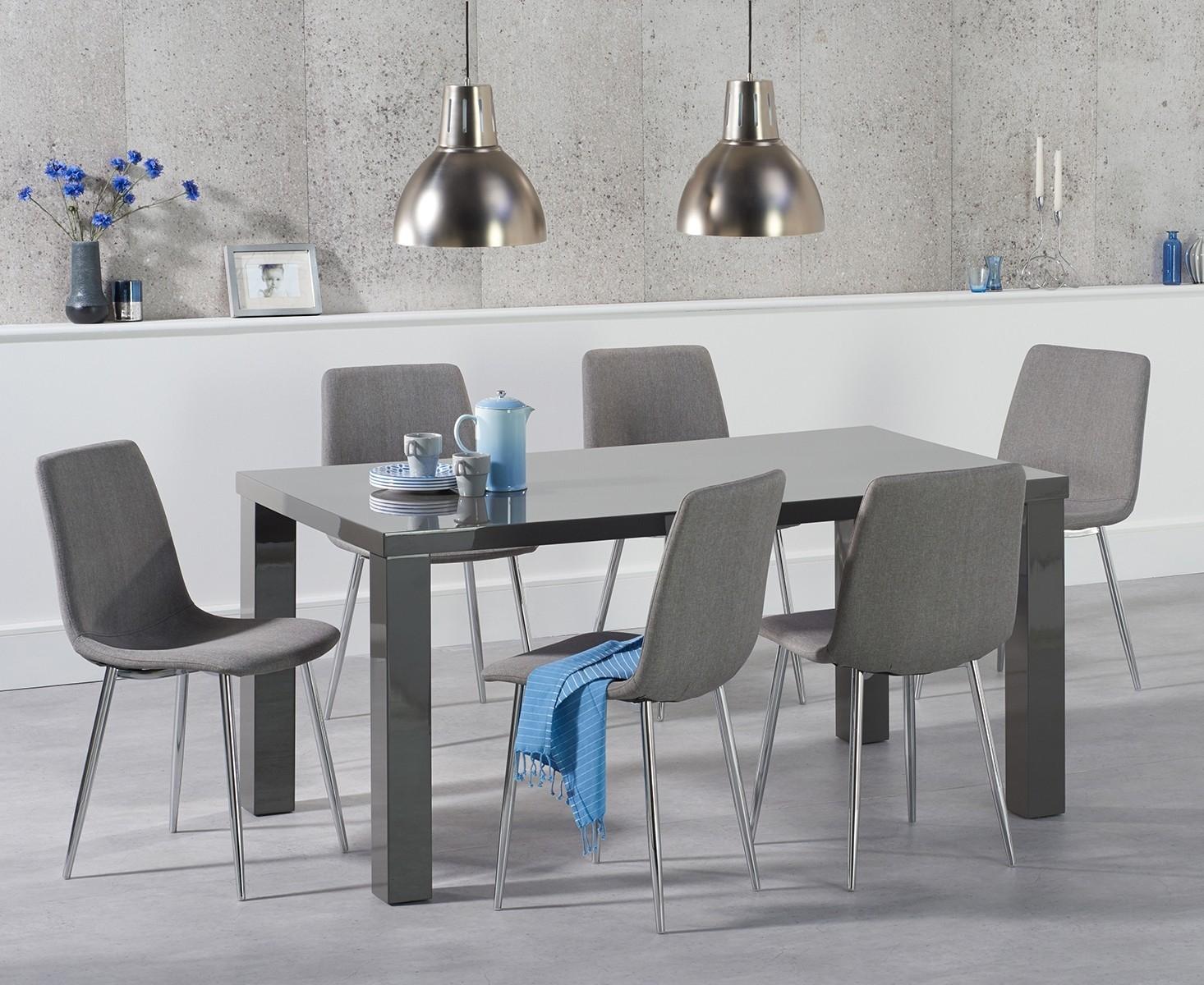 Photo of Atlanta 160cm dark grey high gloss dining table with hamburg fabric chrome leg chairs