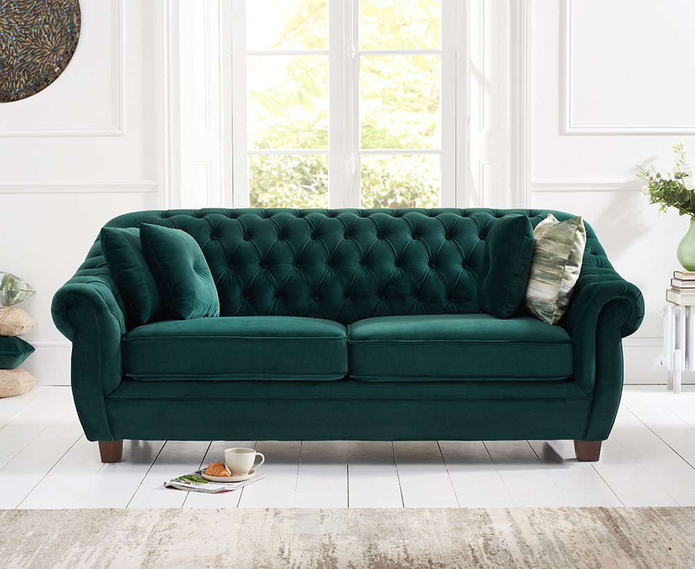 Product photograph showing Lacey Chesterfield Green Plush Fabric Three-seater Sofa