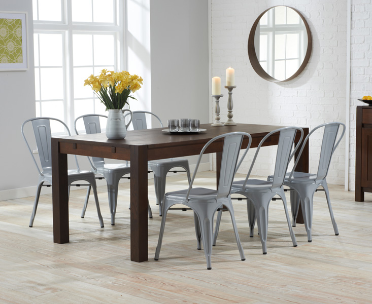 Photo of Verona 150cm dark solid oak dining table with tolix industrial style dining chairs