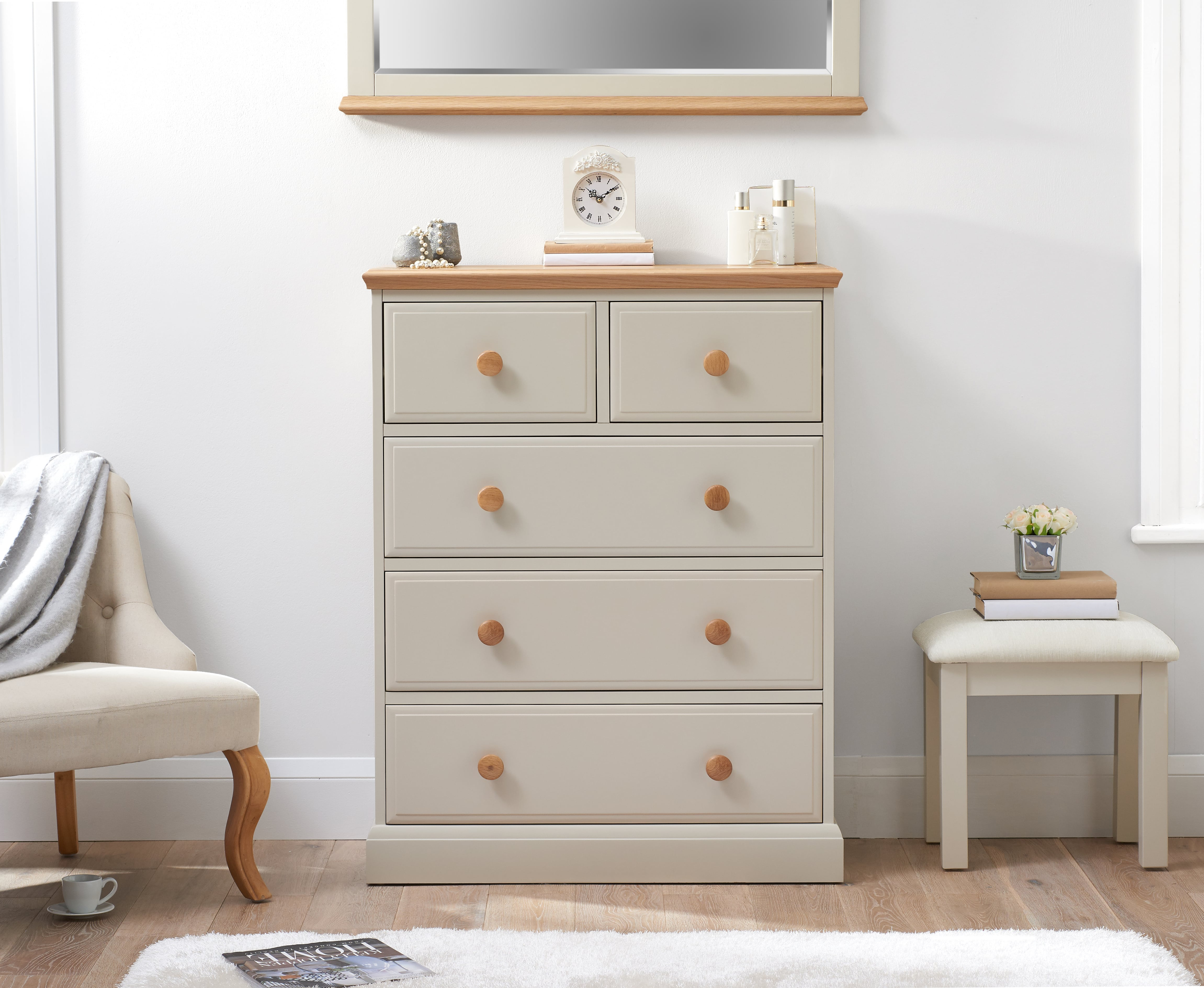 Image of Addison Oak and Stone Painted 2 Over 3 Chest of Drawers