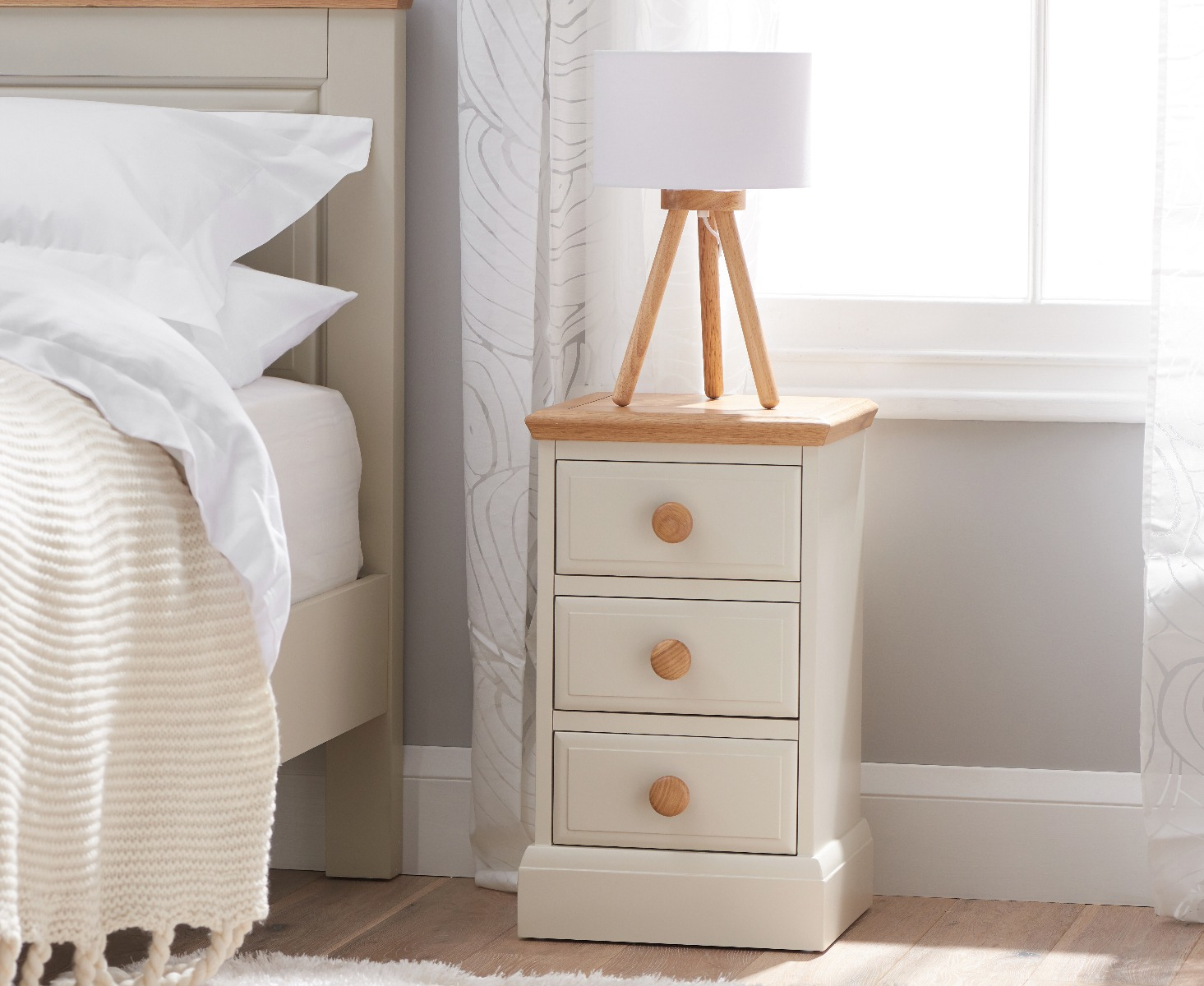 Image of Addison Oak and Stone Painted 3 Drawer Bedside Table