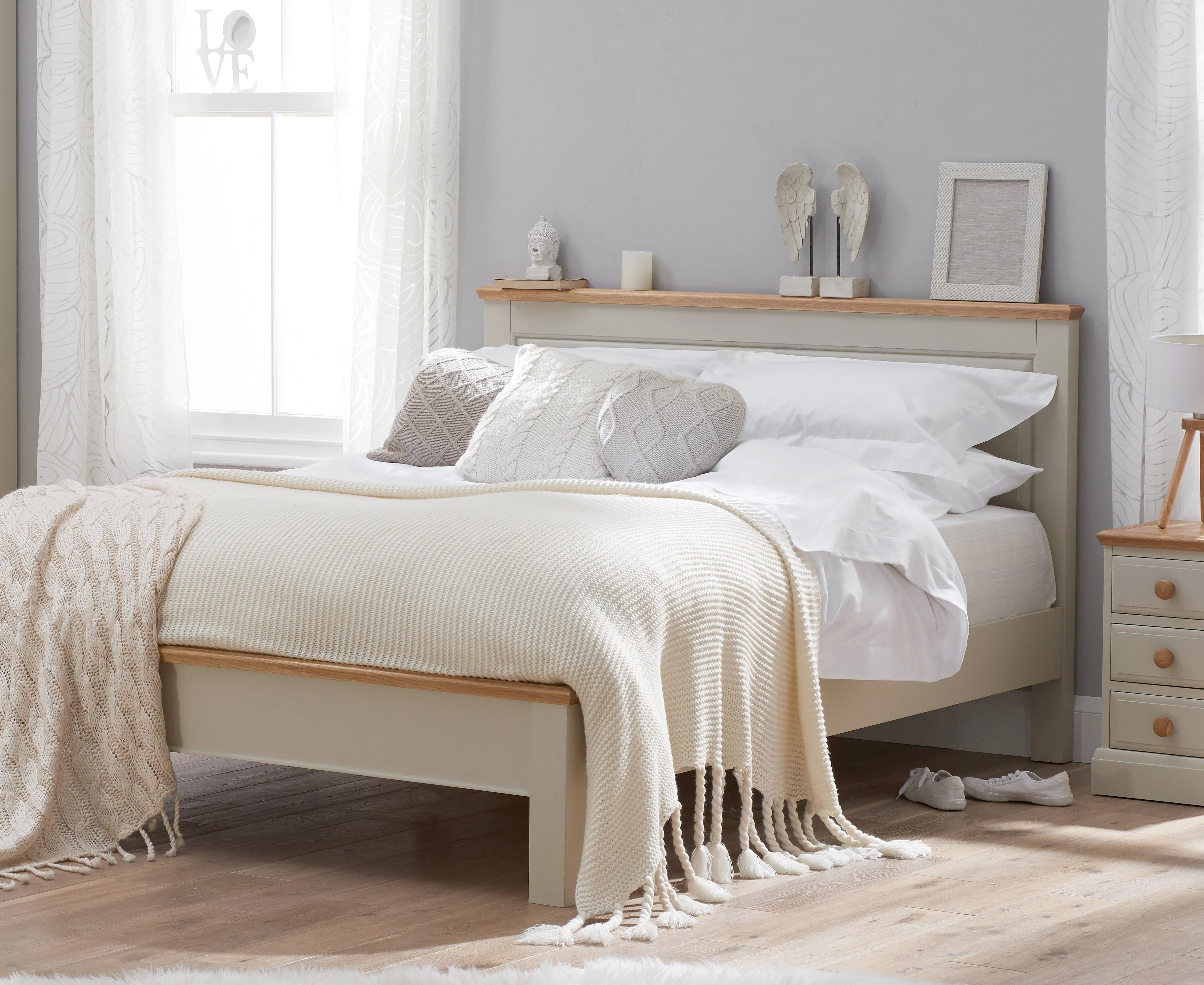 Image of Addison Oak and Stone Painted King Size Bed