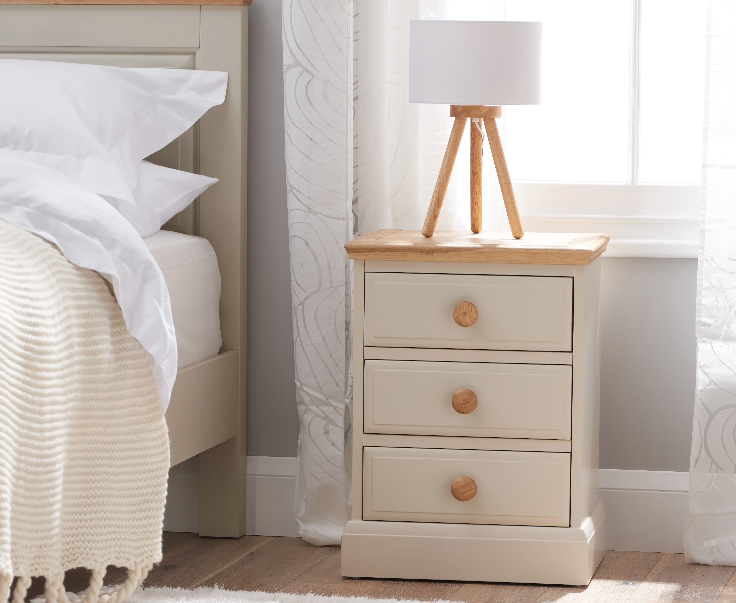 Image of Addison Oak and Stone Painted Large 3 Drawer Bedside Table