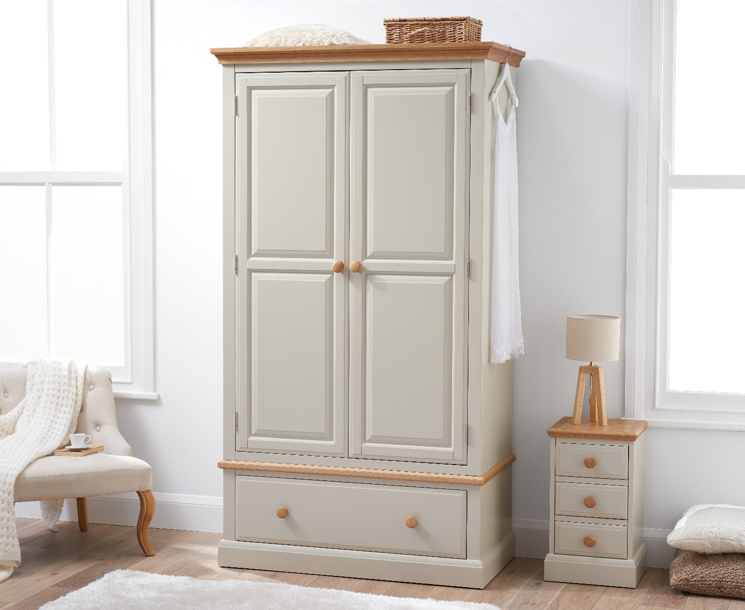 Image of Addison Oak and Stone Painted Large Two Door Wardrobe