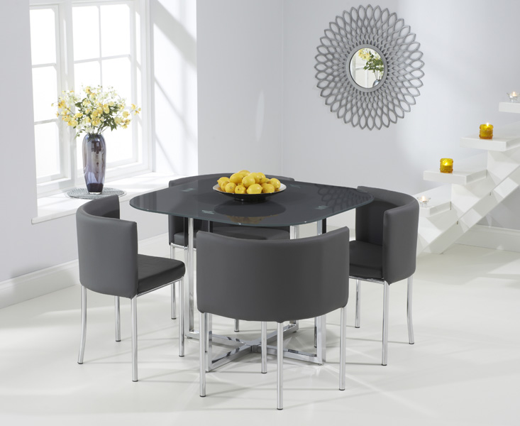 Algarve Grey Stowaway Dining Table with Grey High Back Stools