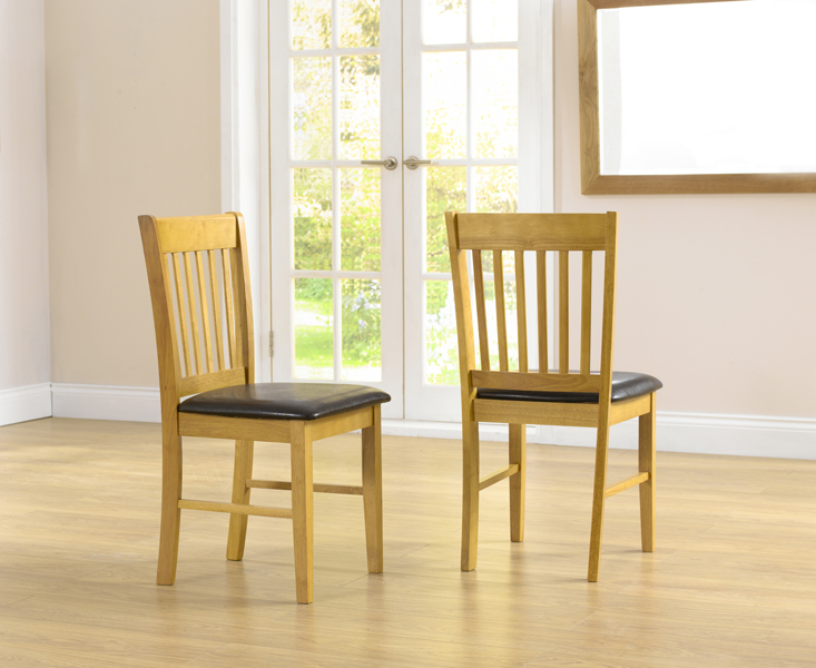 Product photograph showing Amalfi Oak Dining Chairs Pairs