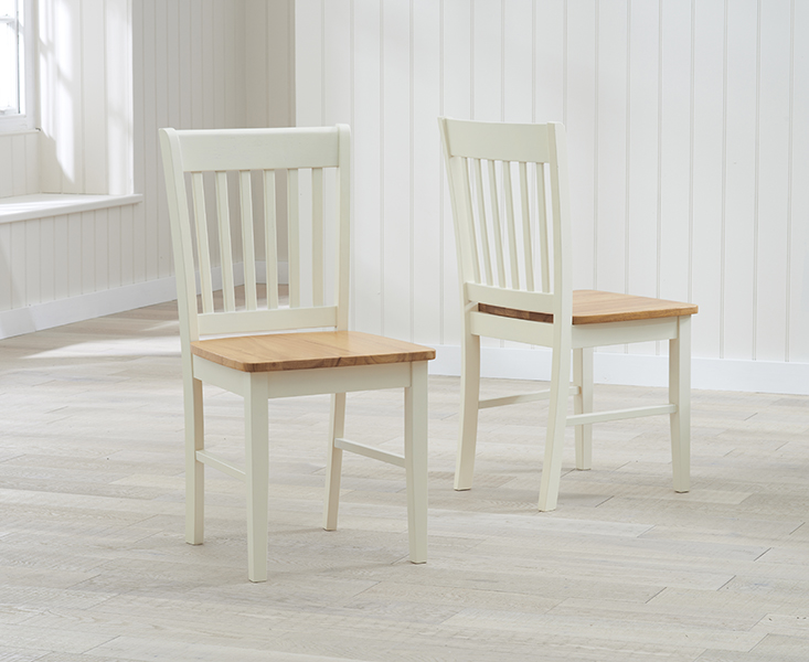 Product photograph showing Amalfi Cream Dining Chairs Pairs