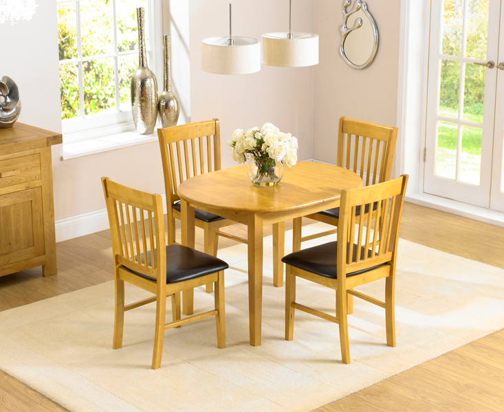 Amalfi 107cm Oak Extending Dining Table and Chairs
