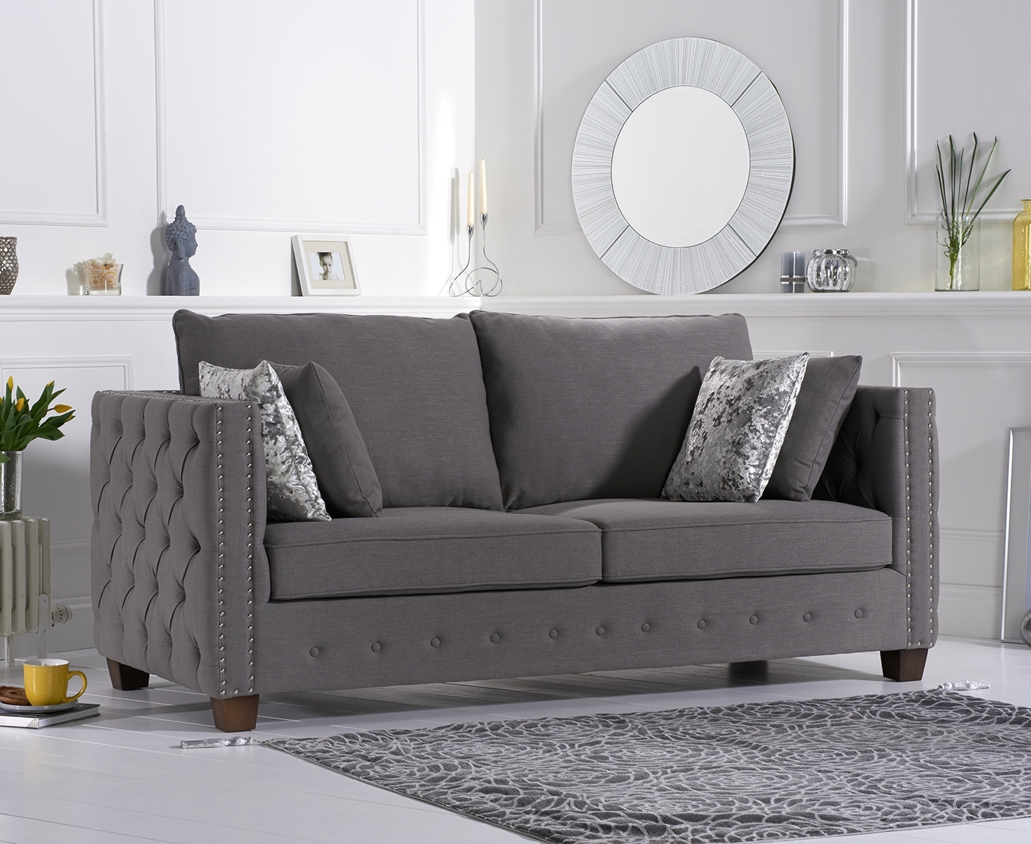 Amelia Grey Fabric Three-Seater Sofa