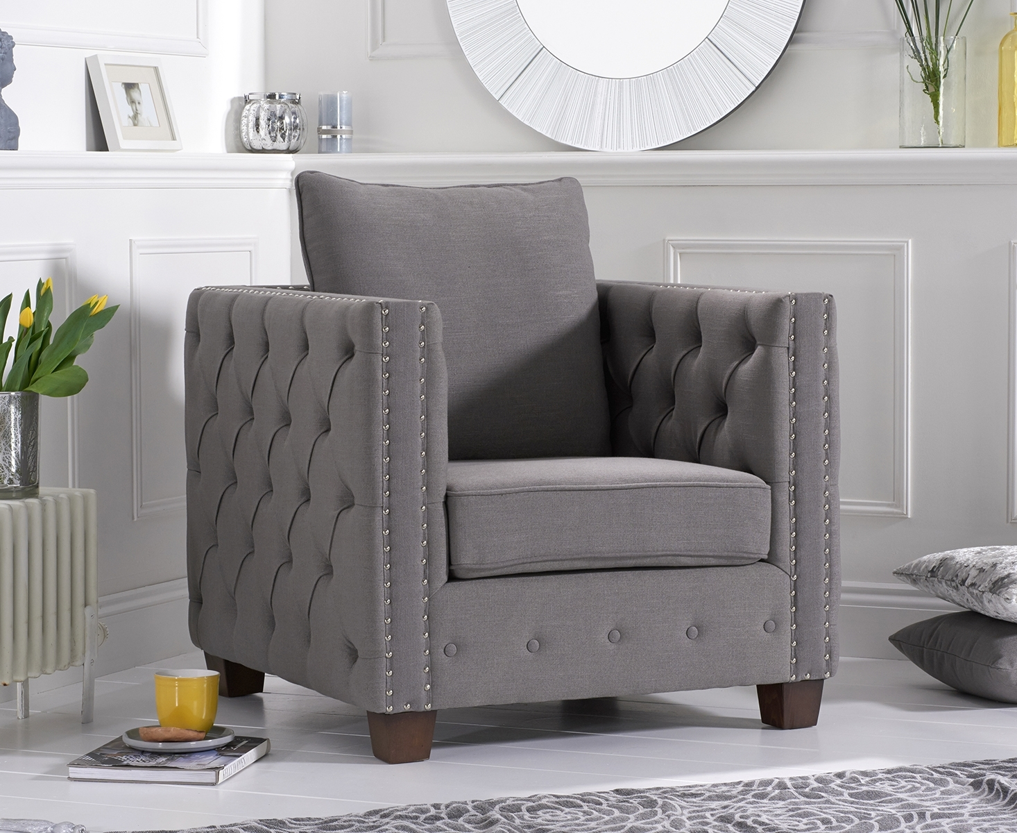 Amelia Grey Fabric Armchair