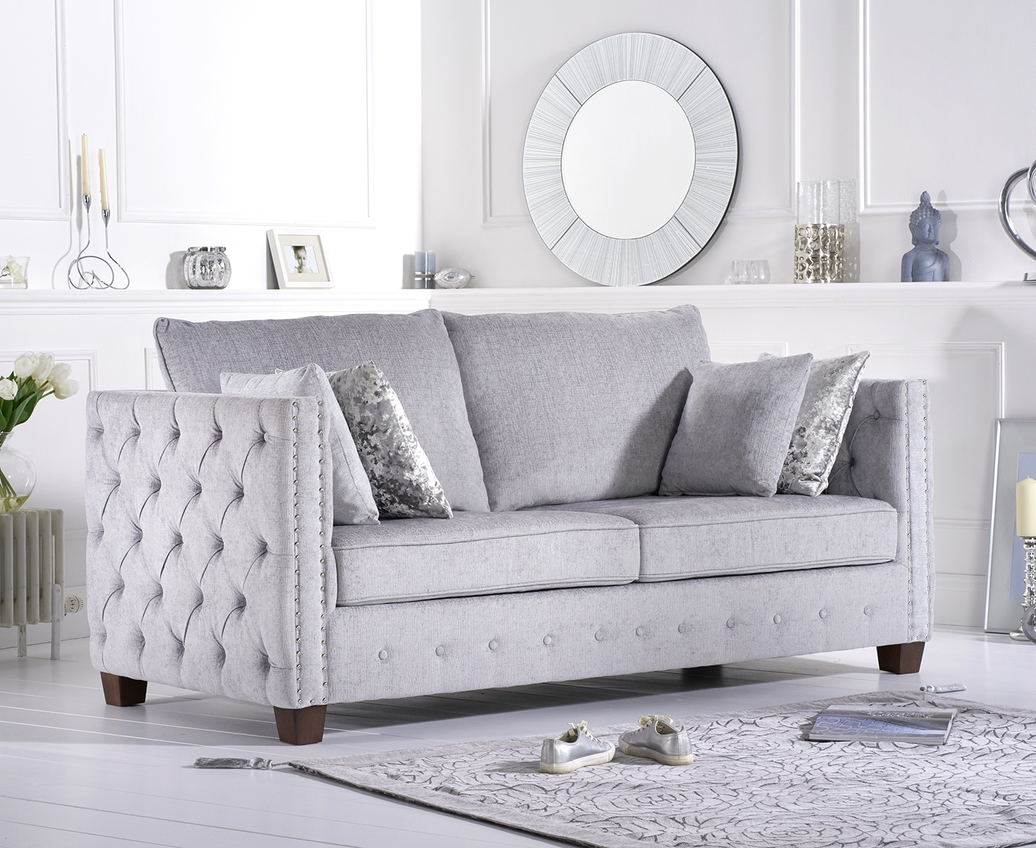 Amelia Grey Plush Fabric Three-Seater Sofa