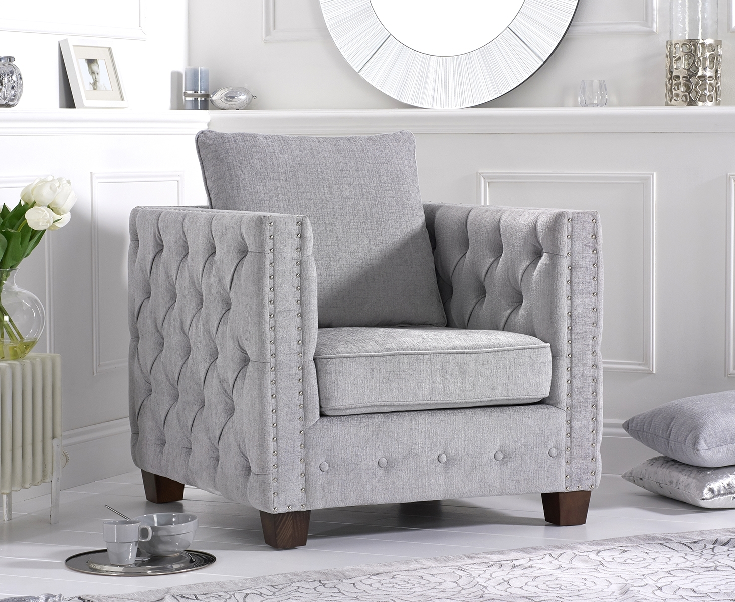 Amelia Grey Plush Fabric Armchair
