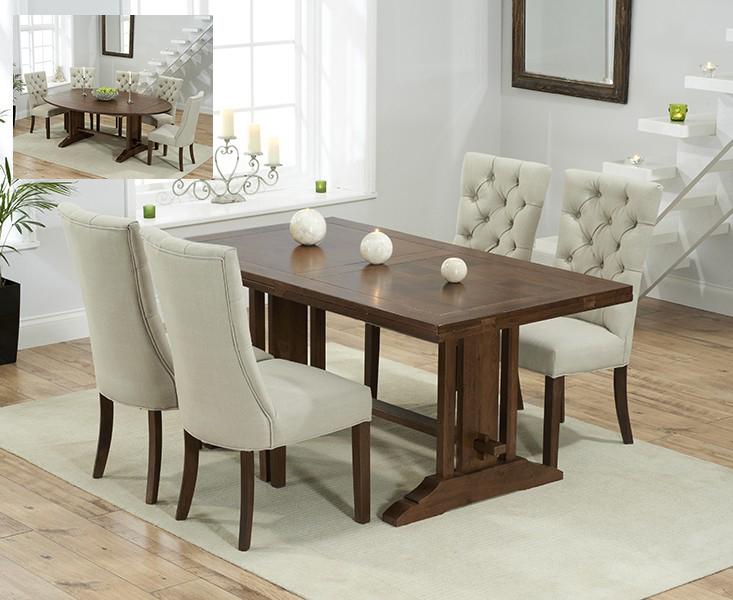 Cavendish 165cm Dark Oak All Sides Extending Table With Anais Fabric Dark Oak Leg Chairs