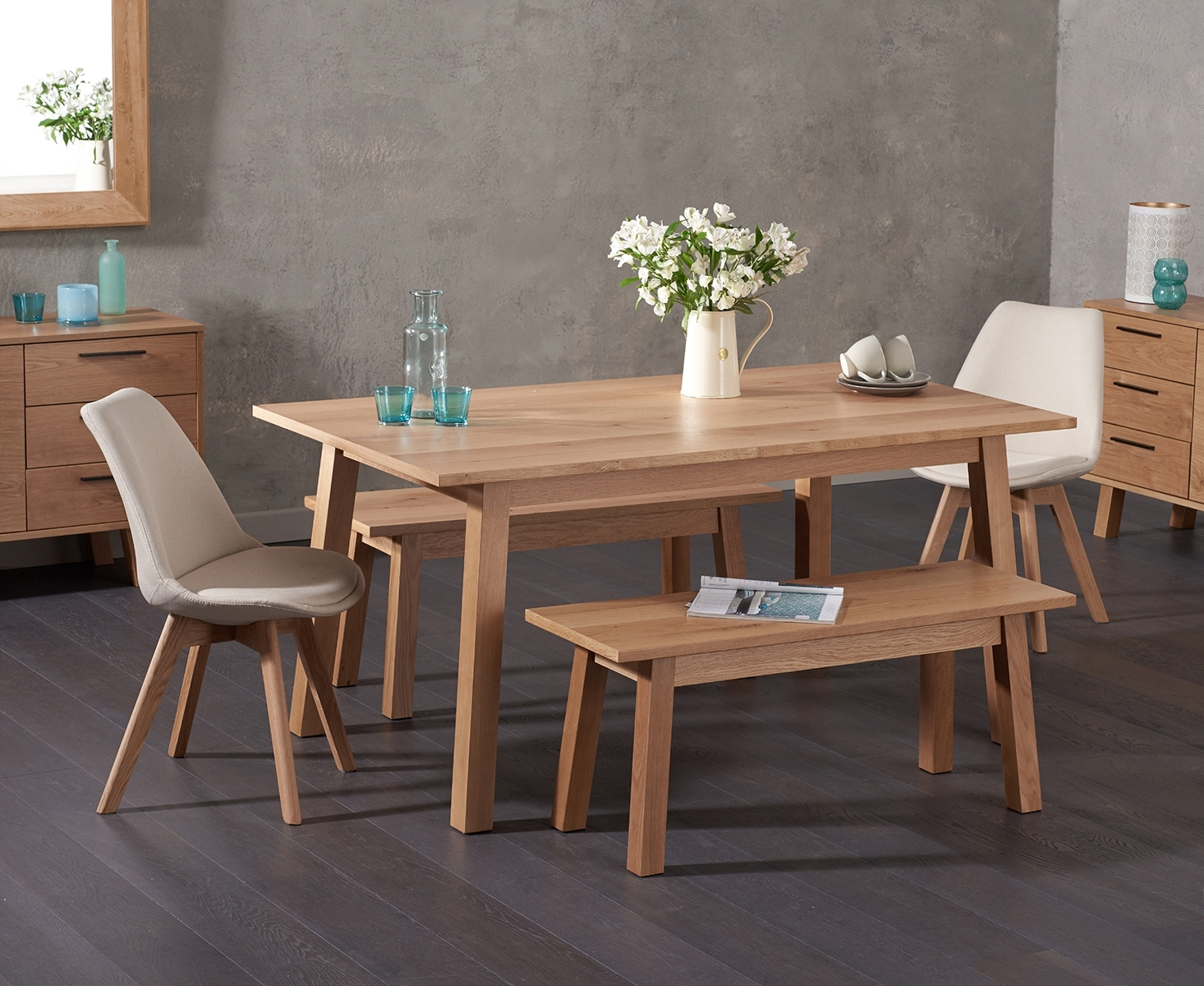 Agata 160cm Oak Dining Table with Demi Fabric Chairs and Agata Benches