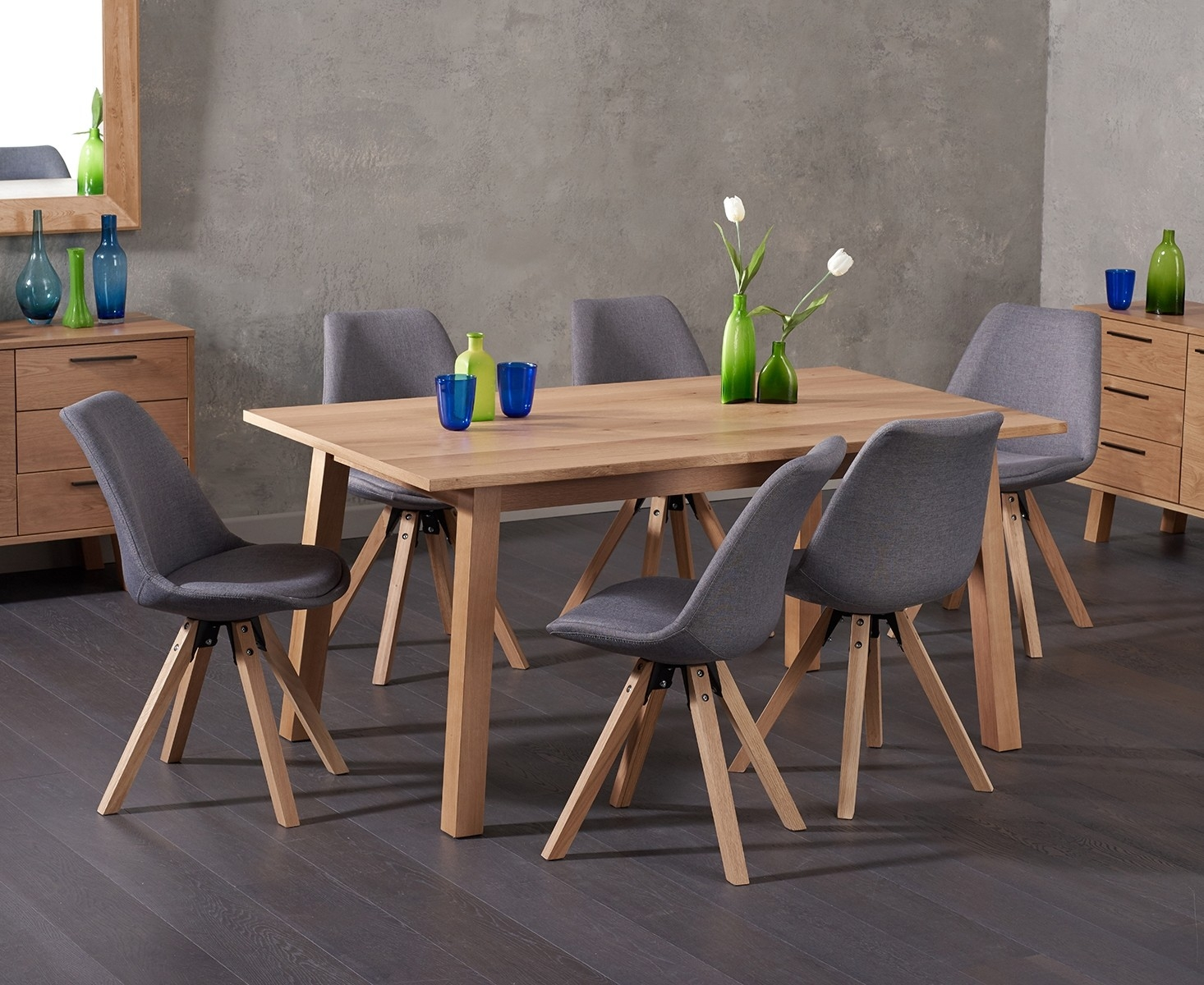 Agata 160cm Oak Dining Table with Ophelia Fabric Square Leg Chairs