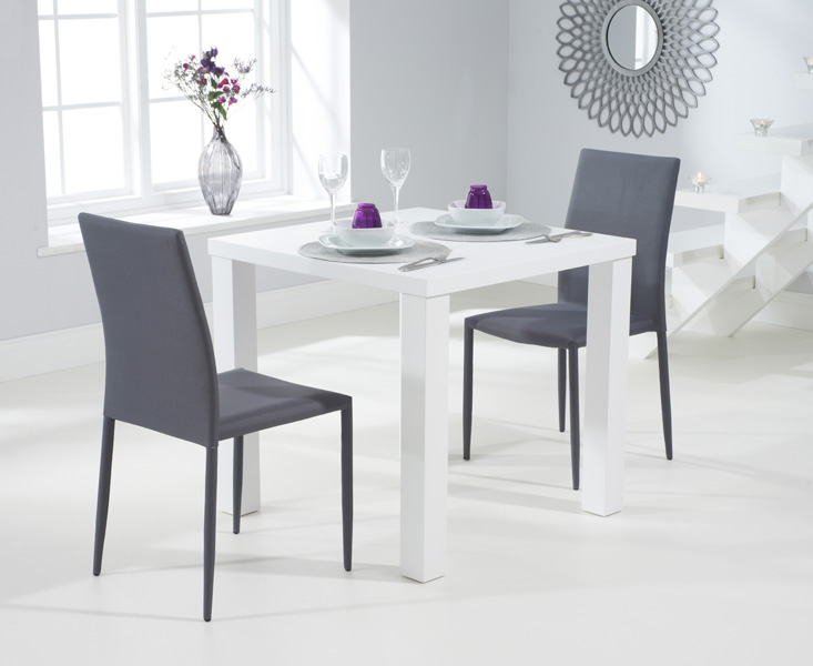 Athens 80cm Matt White Dining Table with Grey Atlanta Stackable Chairs
