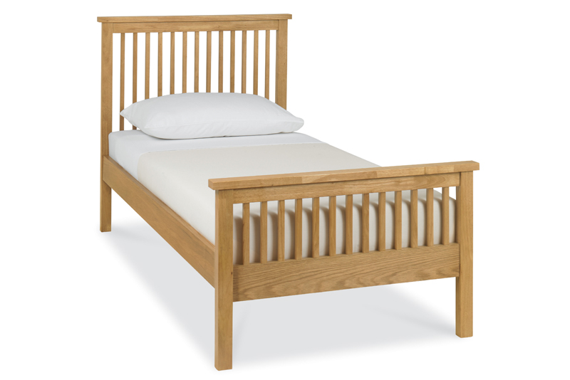 Atlanta Oak High Footend Single Bed with Options Storage