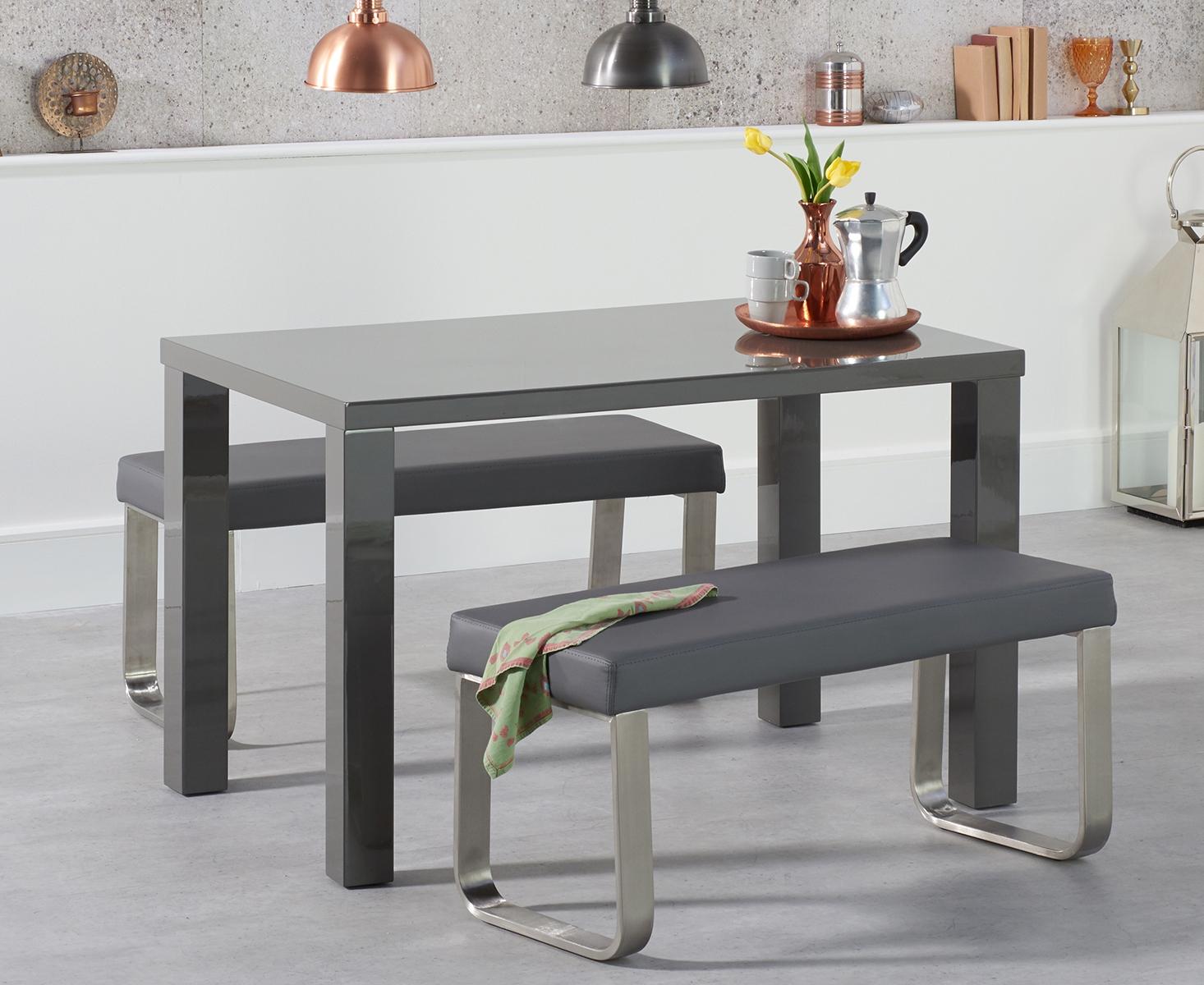 Atlanta 120cm Dark Grey High Gloss Dining Table with Atlanta Grey Benches